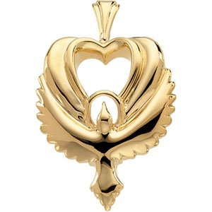 14K Gold Heart Shaped Holy Spirit Dove Pendant