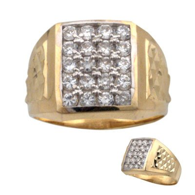 Men's 14K Yellow Gold Signity Star Pave CZ Ring