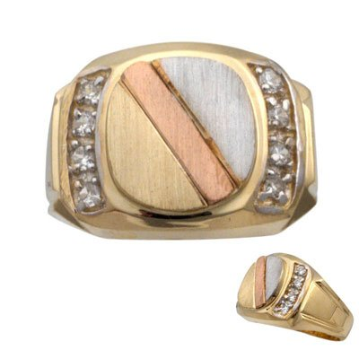 Men's 14K Tri Color Gold Signity Star Signet Ring