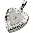 14K White Gold Genuine Diamond Heart Locket