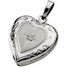 14K White Gold Genuine Diamond Heart Locket