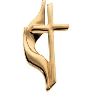 14K Gold Methodist Cross Lapel Pin