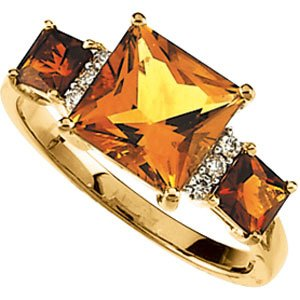14K Gold Genuine Citrine & Madeira Citrine & Diamond Ring