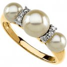 14K Yellow Gold Pearl & Diamond Ring