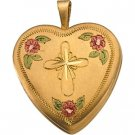 14K Gold Tri Color Fancy Cross Locket