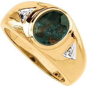 Men's 14K Yellow Gold Onyx Bloodstone & Diamond Ring