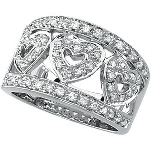 14K White Gold 1/2 CTW Hearts Diamond Ring