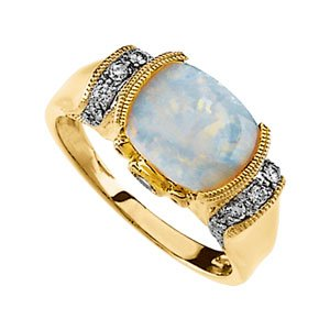 14K Yellow Gold Pink Tourmaline & Opal Diamond Ring
