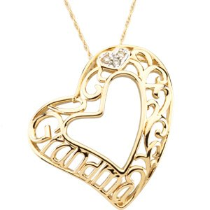 14K Yellow Gold Grandma Diamond Heart Pendant