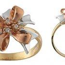 14K Gold Tri Color CZ Ribbon Ring