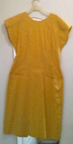 Stylish yellow summer linen dress, size 8