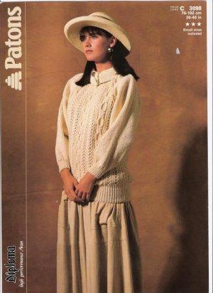 Patons KNITTING PATTERN Women's ARAN Pullover
