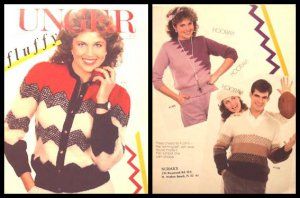 KNITTING 3 Patterns Womens Cardigan and Pullover, Mens V-Neck