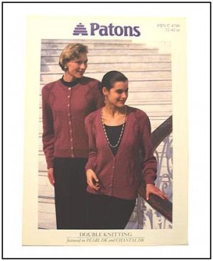 KNITTING Patterns V-NECK CREW NECK Cardigan Lace Diamond and Rose Design DK