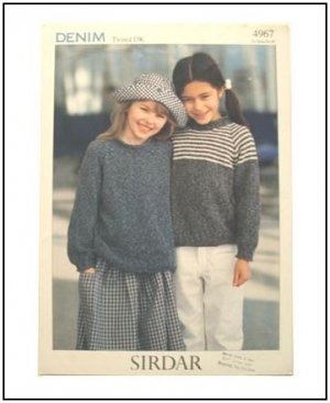KNITTING Pattern Children Pullover Raglan Sleeve Plain or Stripe DK