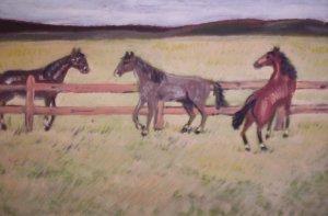 """Milton Cairoli oil painting """"Caballos marrones"""""""