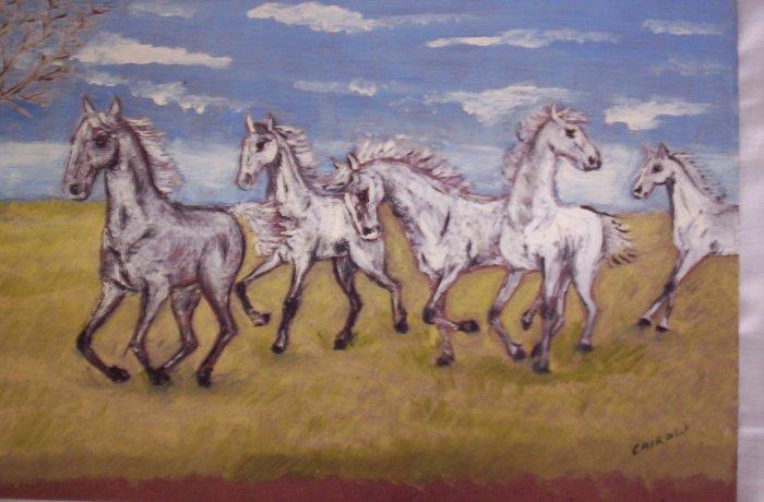 "Milton Cairoli oil painting ""Caballos blancos"""