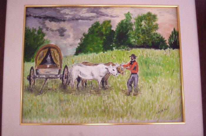 "Milton Cairoli oil painting ""La carreta"""