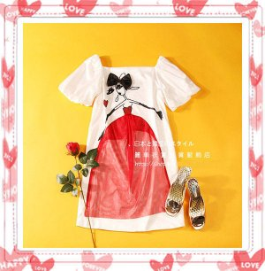 New Japan Style One Piece White  Color Dress With 3D Doll