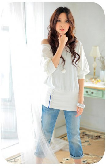 New White Color Korea Style Sexy Shoulder Top With Cute Button (Petite)