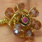 Dichroic glass and crystals ring 0106