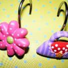 Girls Bathroom Shower Hooks Shoe & Purse Curtain Hooks