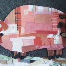 Pig Art Framed Pig Print Quilted Pig Art Framed Print