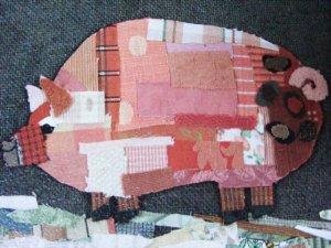 Pig Art Framed Pig Print Quilted Pig Art Framed Print