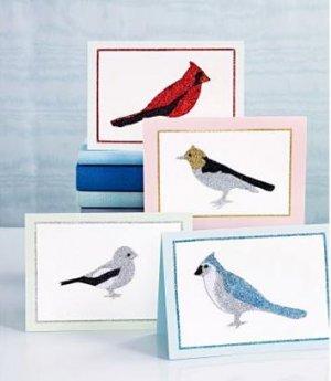 Martha Stewart Glitter Set 5 Colors Birds Cards 26 Pieces!