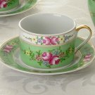 SORELLE Porcelain China Green Mint Garden Pattern Cups and Saucers