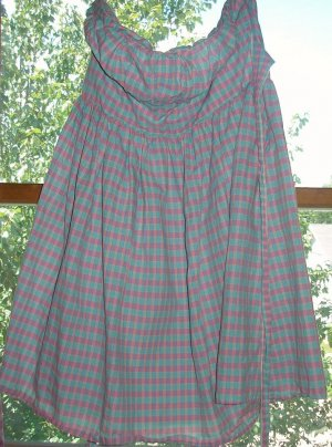 Necessary Objects size 9 plaid strapless dress
