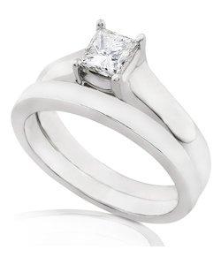 14K White Gold 1ct. Certified Diamond Bridal Ring Set