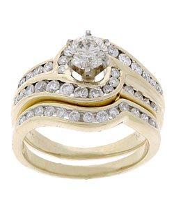 14K Yellow Gold 1 1/3ct. TDW Diamond Bridal Ring Set