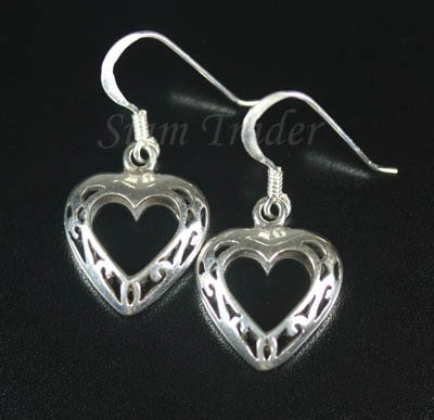 Sterling Silver Heart Dangling Earrings AESS1911