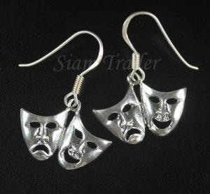 Sterling Silver Comedy/Tragedy Mask Earrings YSS12