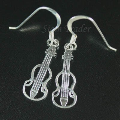 Sterling Silver Cello Dangling Earrings AESS1714