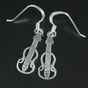 Sterling Silver Cello Dangling Earrings AESS1714