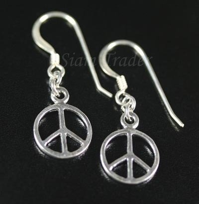 Sterling Silver Peace Dangling Earrings AESS491