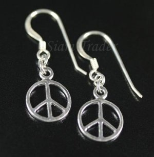 Sterling Silver Peace Dangling Earrings AESS491