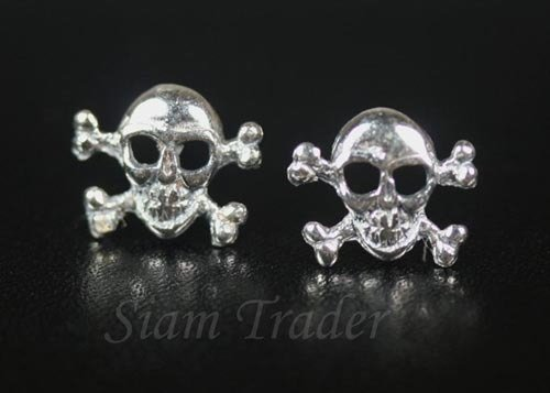 Sterling Silver Skull & Crossed Bones Stud Earrings AESS60