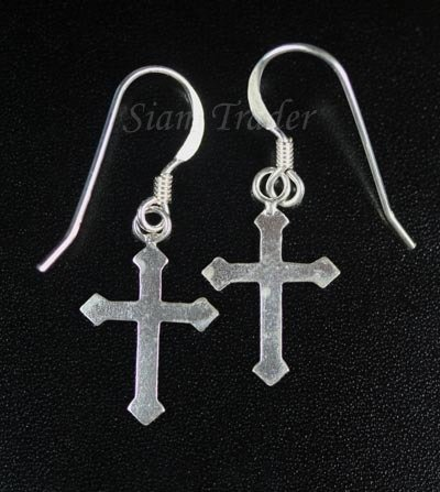 Sterling Silver Fleur-De-Lis Cross Earrings AESS145