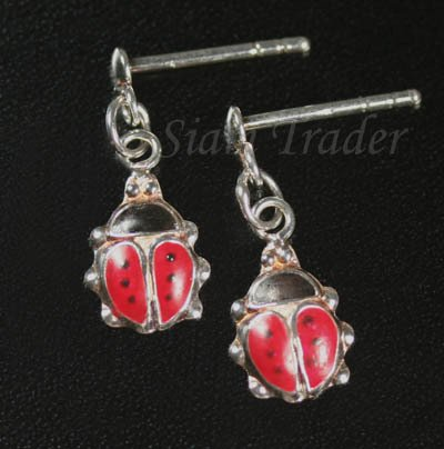 Sterling Silver Lady Bug Earrings HSS212