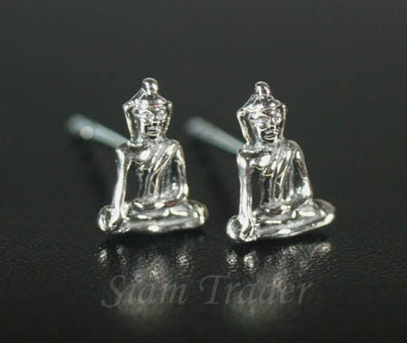 Sterling Silver Buddha Stud Earrings PSS863