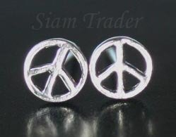 Sterling Silver Peace Stud Earrings AESS80LG