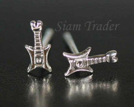 Sterling Silver Guitar Stud Earrings PSS10