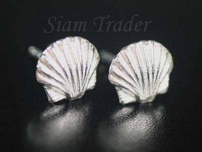 Sterling Silver Sea Shell Stud Earrings AESS54