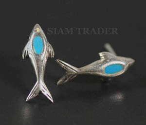 Sterling Silver Dolphin w/ Turquoise Stone Earrings AESS1872