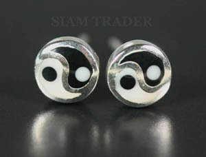 Sterling Silver Yin & Yang - Onyx & Bone Stud Earrings AESS85