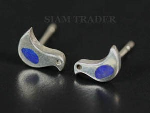 Sterling Silver Dove w/ Lapis Lazuli Stone -Stud Earrings AESS1759