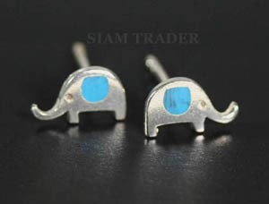 Sterling Silver Elephant w/ Turquoise Stud Earrings AESS1186